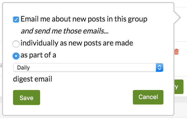 popup window showing options for forum emails