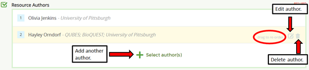 Add another author using the + select author, edit author info with the pencil icon, drag authors to reorder, delete author using the trash icon
