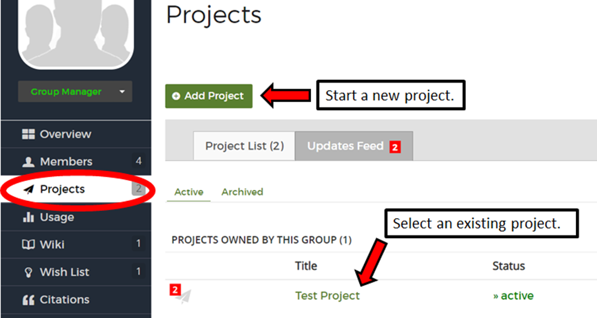 Project page in a group. Projects are highlighted in the group menu. Start a new project button is noted as well as the project list in which you can select an existing project.