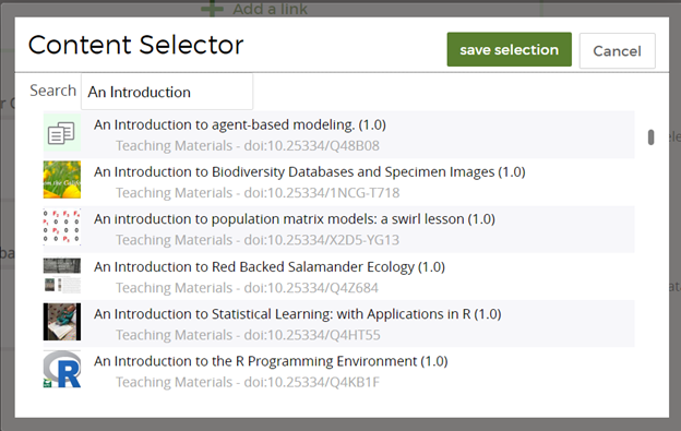 content selector showing list of QUBES resources and search bar