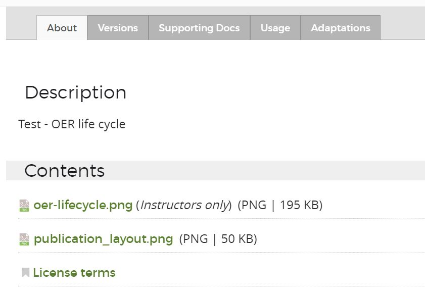 Resource record content list with two files. One is instructor only, the other is not, both are downloadable.