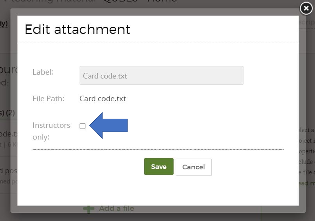 Edit attachment window with an arrow pointing to the instructor only checkbox