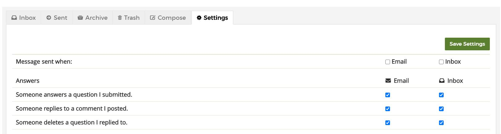 settings tab within QUBES messages in the user profile