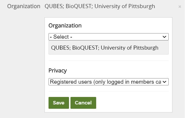 organization field open showing entered text, privacy drop down, save and cancel buttons