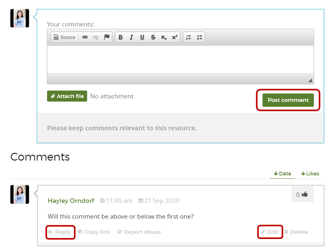 "resource comment section highlighting the ""post comment"" button, and where to reply to and edit an existing comment"