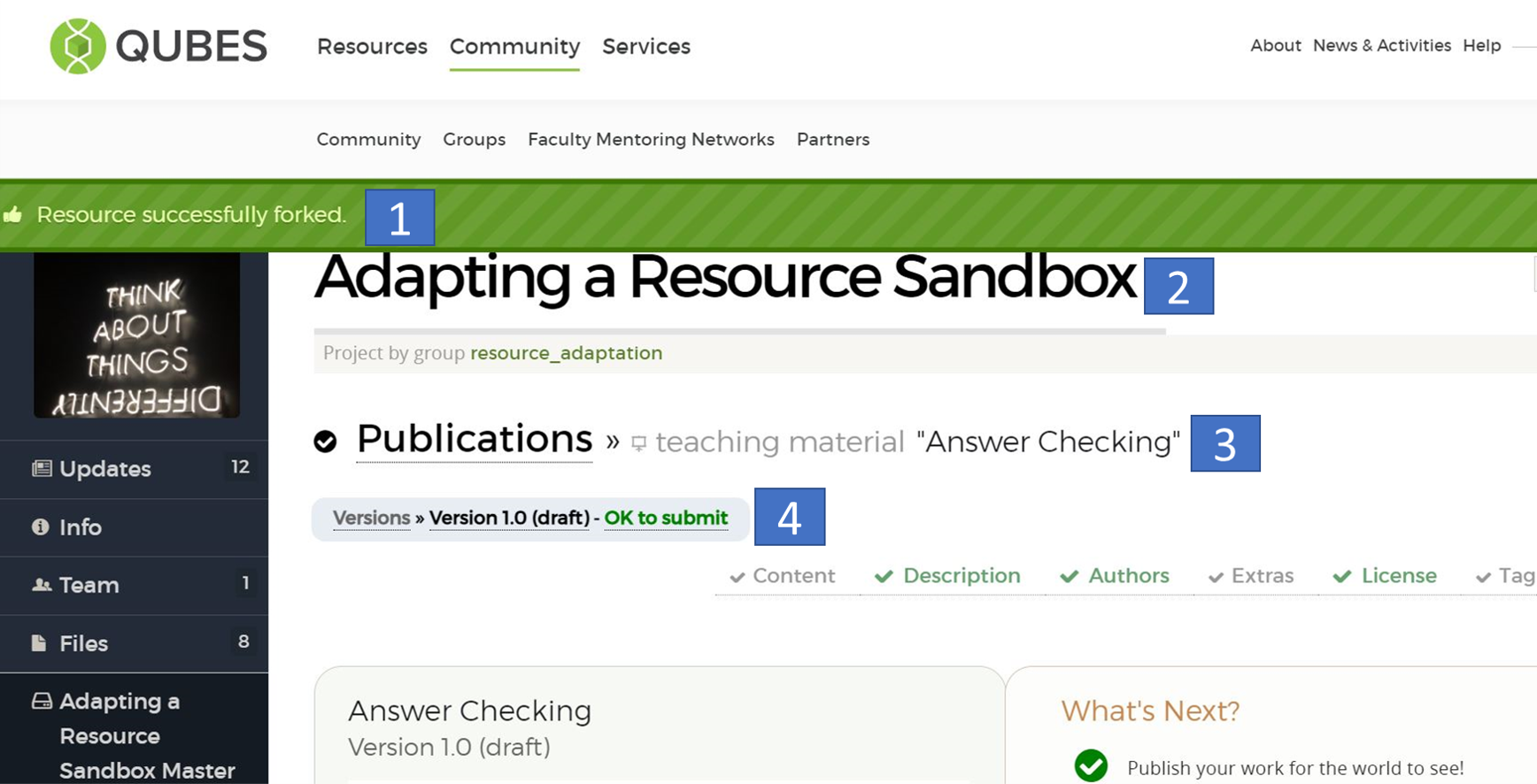 """Annotated screenshot of a draft adapted resource with four numbered boxes. 1. Green banner with the message, """"Resource successfully forked."""" 2. Project title """"Adapting a Resource Sandbox."""" 3. Resource title, """"Answer Checking. 4. Version label is """"Version 1.0 (draft)"""""""