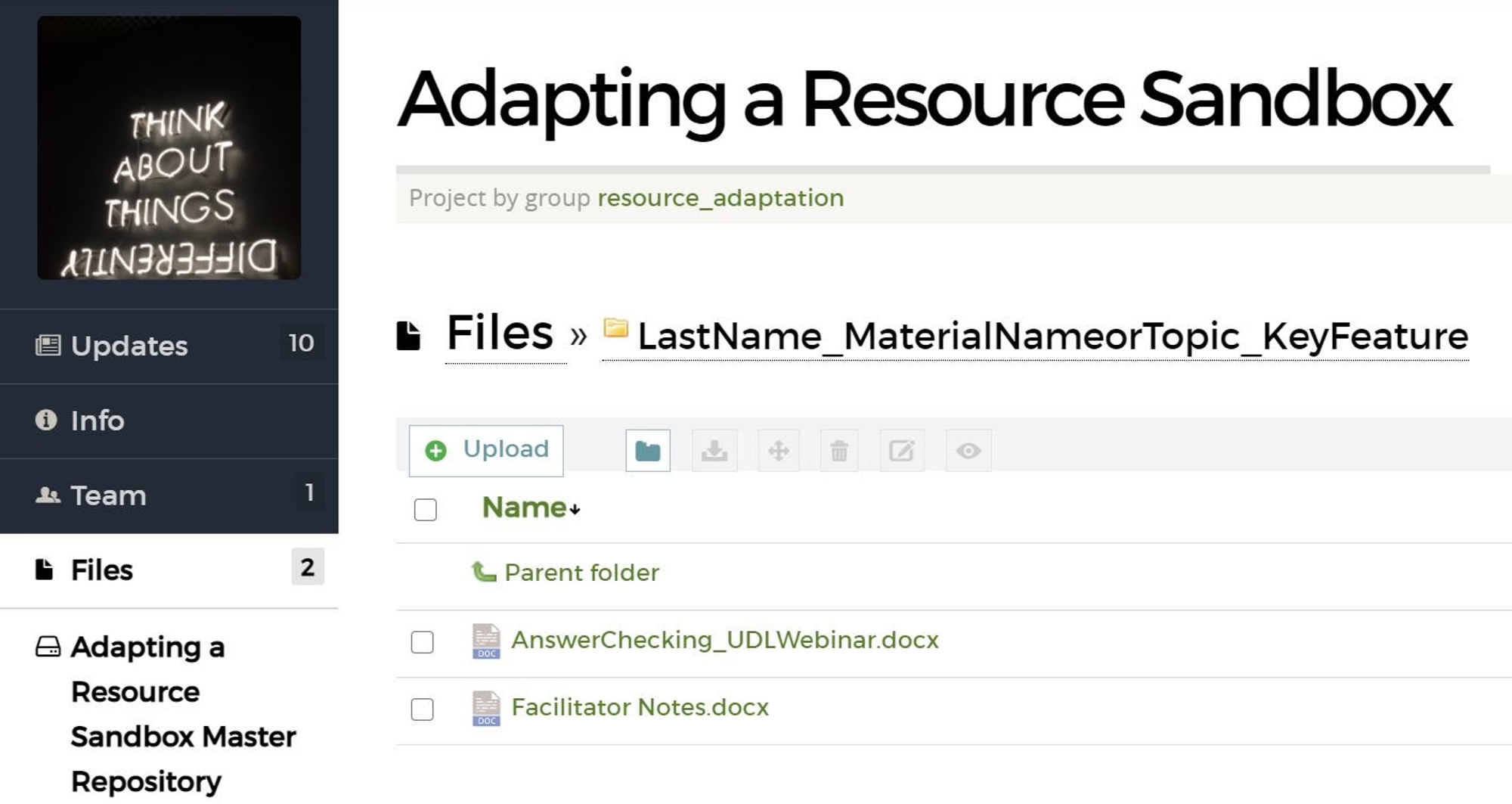 """Screenshot of Adapting a Resource Sandbox project repository. There are two files in the subfolder, """"LastName_MaterialNameorTopic_KeyFeature."""" The files are """"AnswerChecking_UDLWebinar.docx"""" and """"FacilitatorNotes.docx"""""""