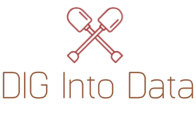 "dig logo: two crossed spades above ""Dig into Data"""