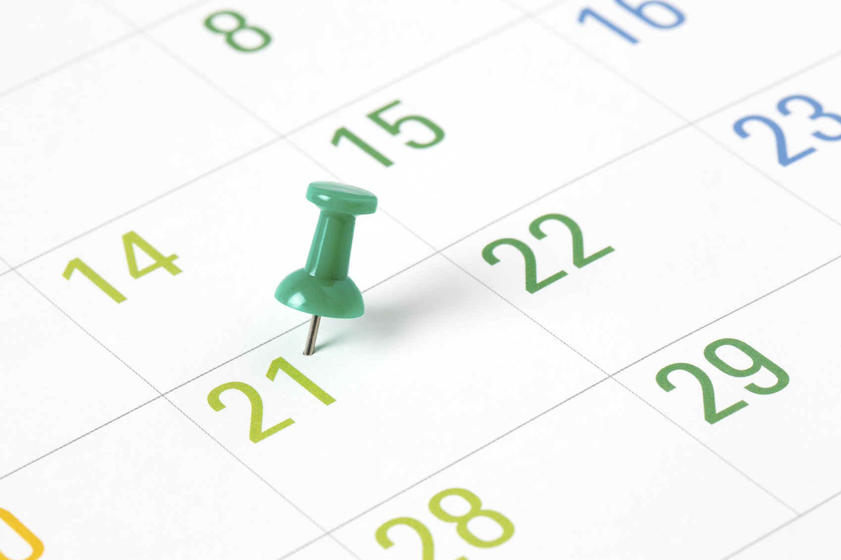 Green Tone Calendar with Pushpin