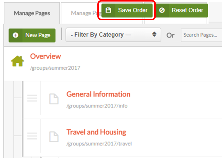 save page order button