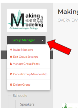 hub group with a group manager button and red arrow pointing to it