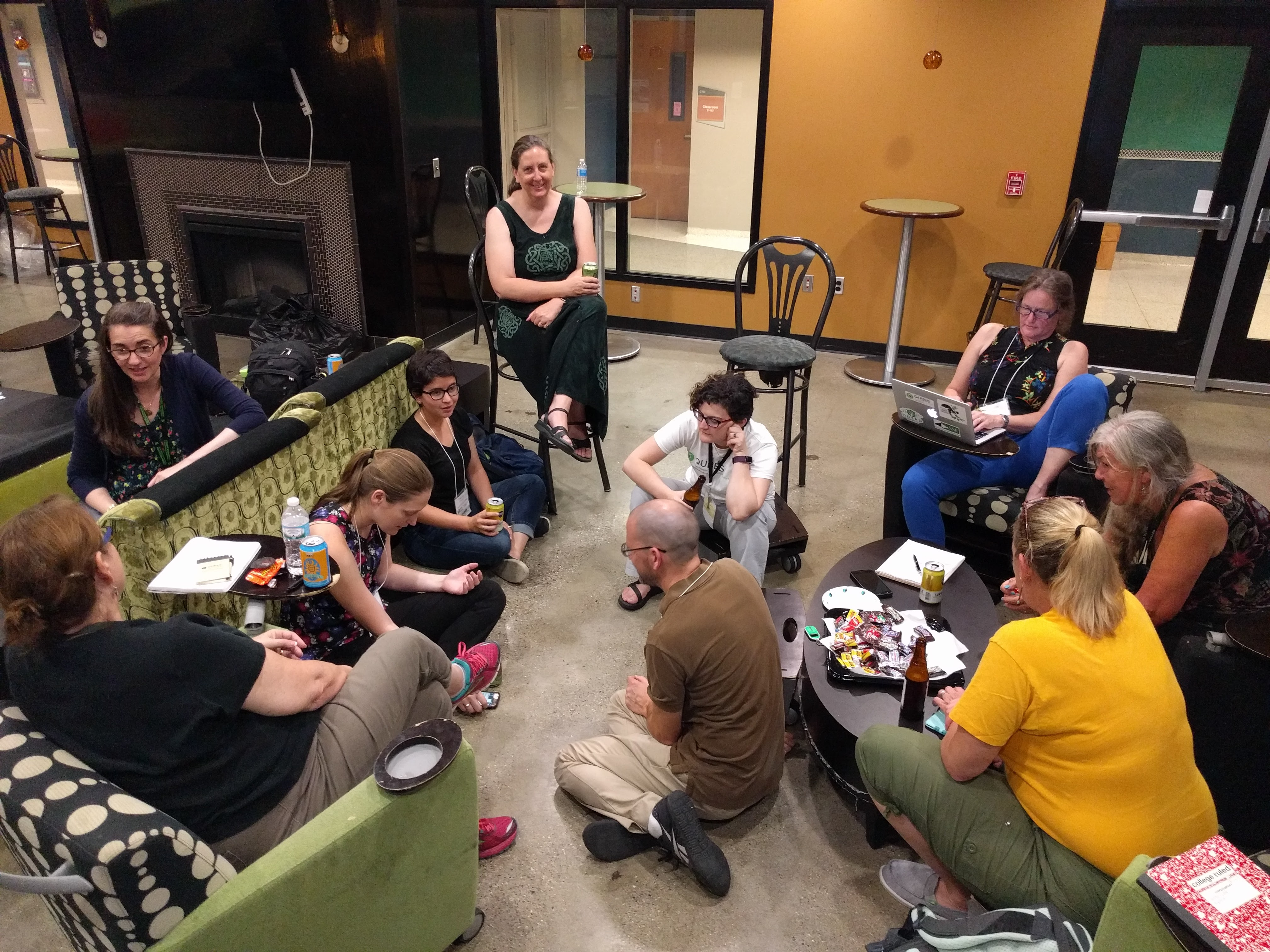 group sitting on floor