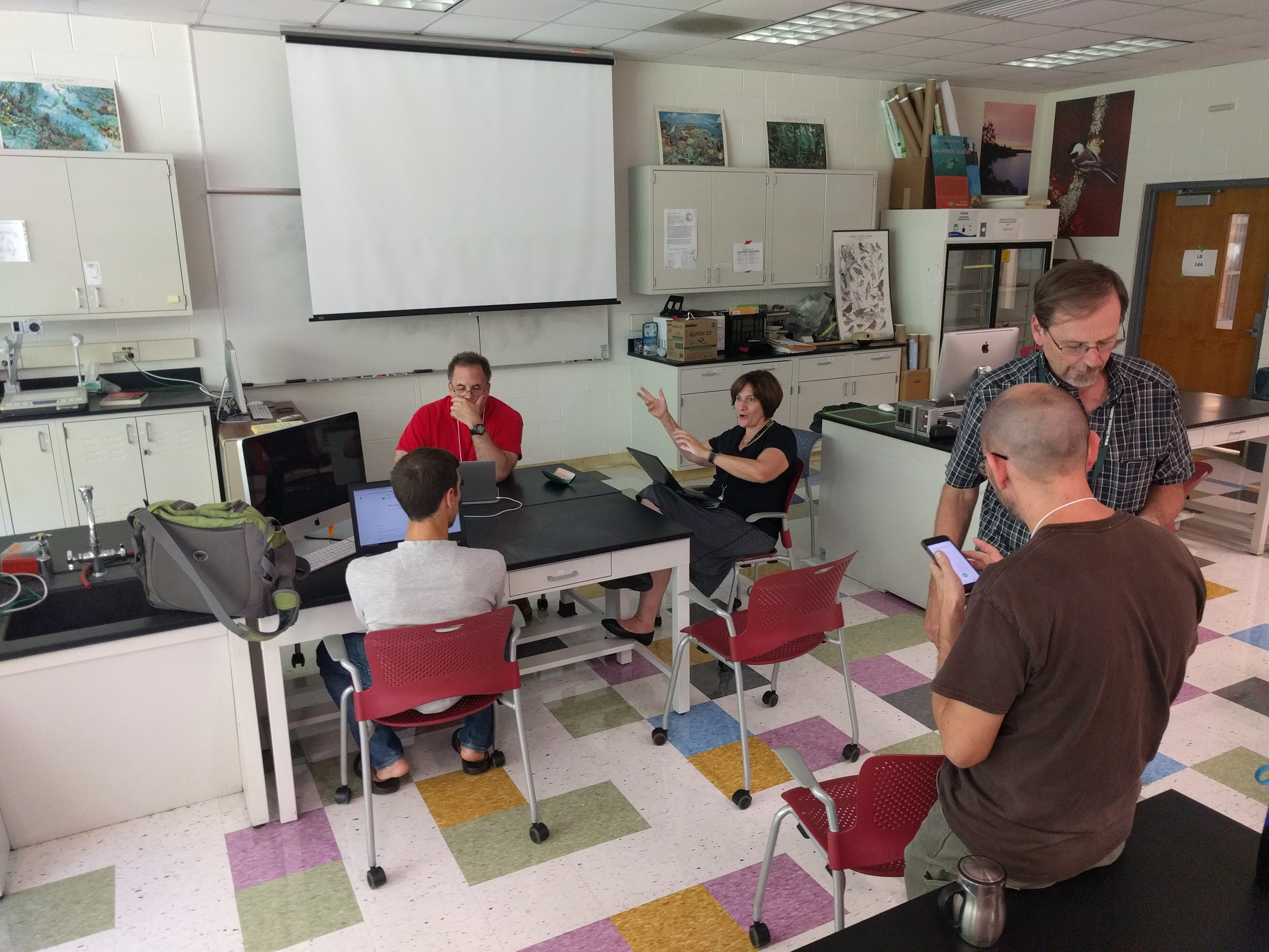 group working in classroom