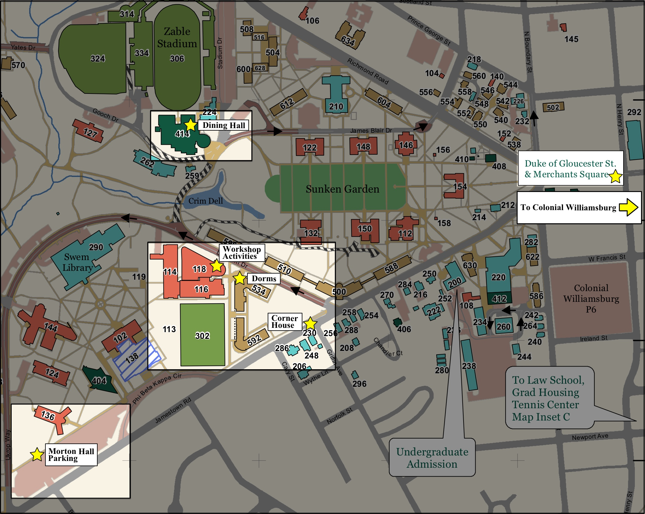 wm campus map marked and highlighted
