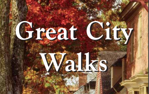 "text ""great city walks"" on backdrop of leaves"