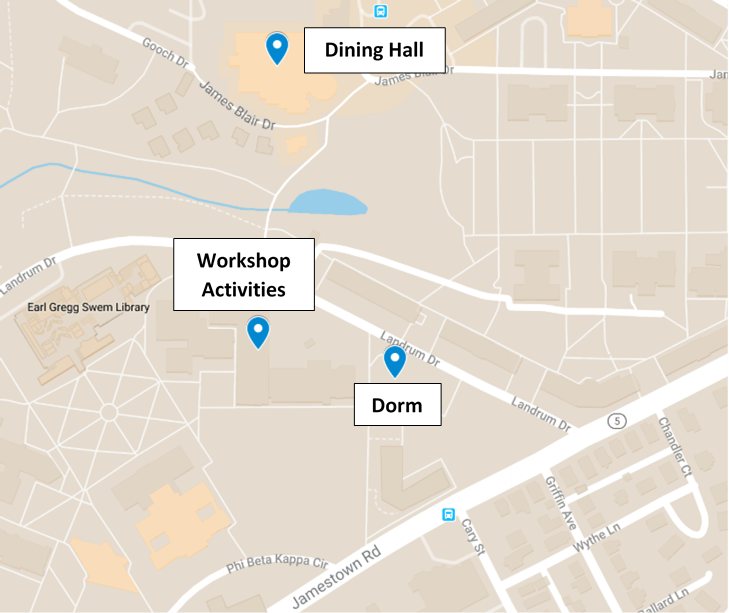 map of william and mary's campus with workshop locations marked