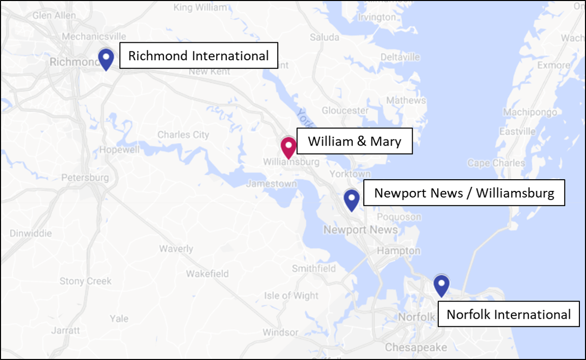 map of airports near william and mary