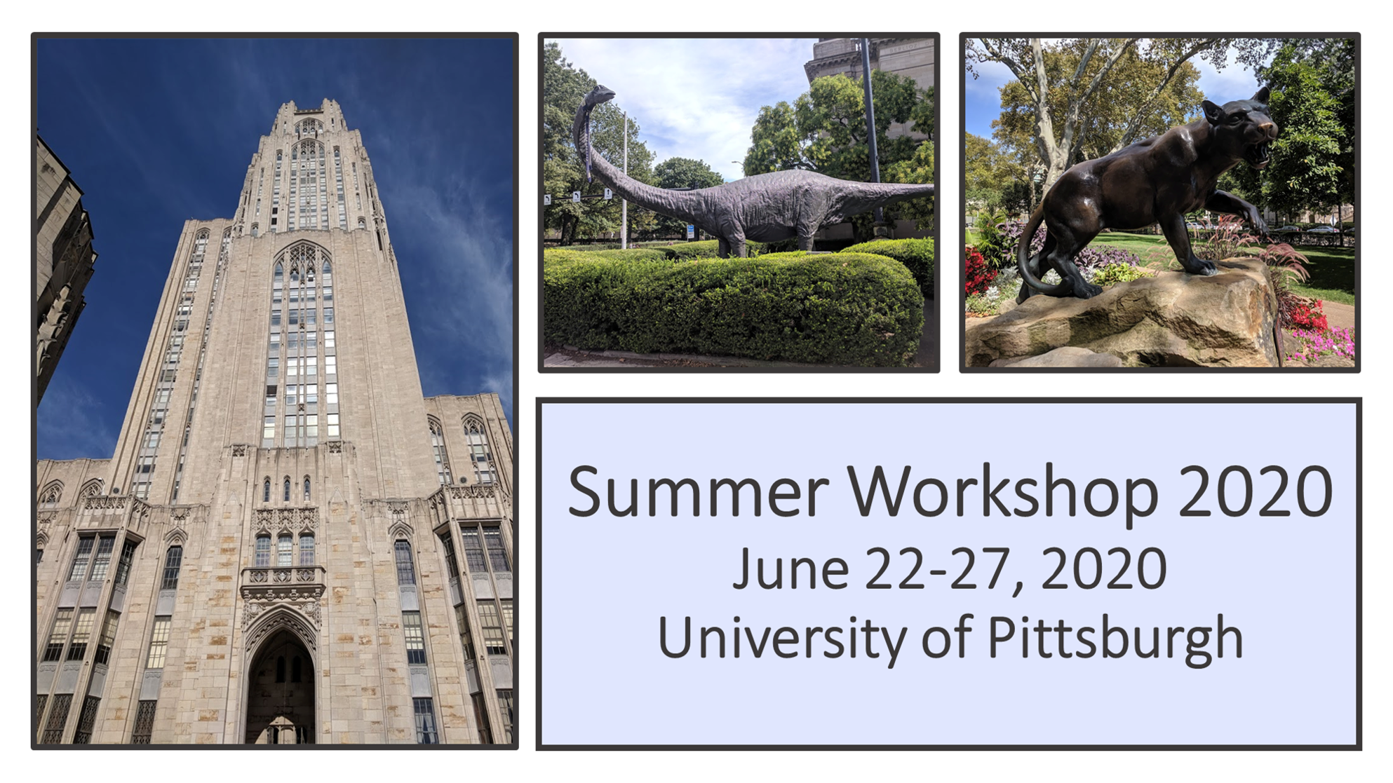 "postcard ad with text, ""Summer Workshop 2020, June 22-27, 2020, University of Pittsburgh"""