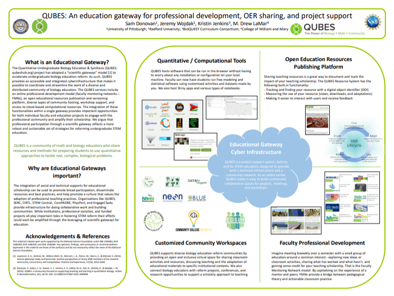 QUBES: An education gateway for professional development, OER sharing, and project support