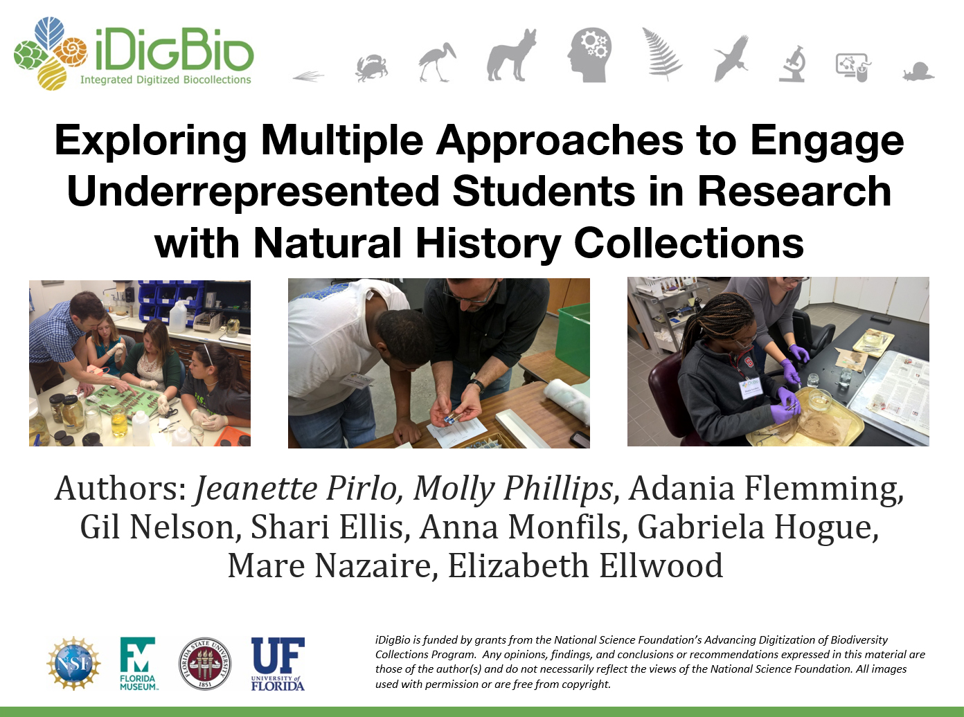 Exploring multiple approaches to engage underrepresented students in research with natural history collections.